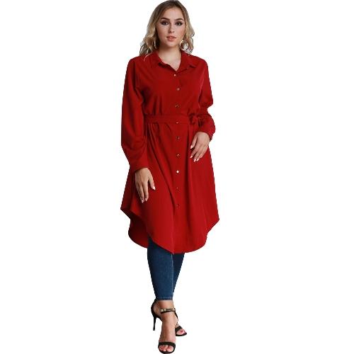 Frauen Plus Size Shirt Kleid Langarm Unregelmäßiger Saum Gürtel Feste Lässige Tunika Lange Bluse Top