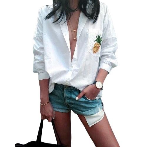 Frauen-Ananas-Druck-Hemd-Tasche lose Blusen-Knopf Drehen Sie unten Kragen-lange Hülse beiläufiges Spitzenweiß