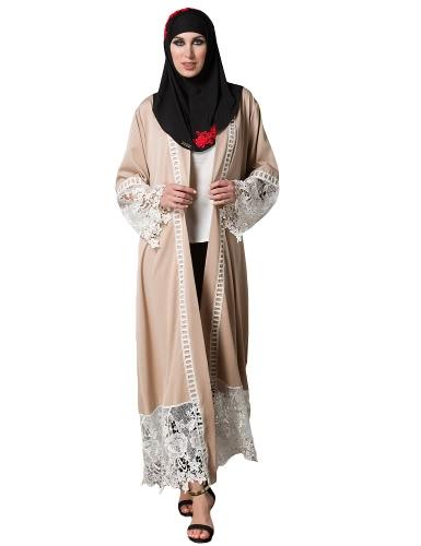 Mujeres Musulmanes Vestidos de encaje floral de manga larga Abaya Kaftan Arab árabe largo de rebeca Cintura Trench Coat Khaki