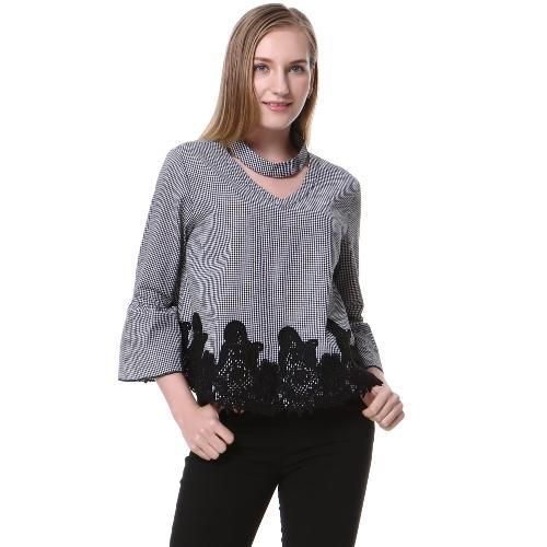 Nueva moda elegante impresión a cuadros gargantilla cuello flare blusa de manga Crochet cordón empalme rejillas negro