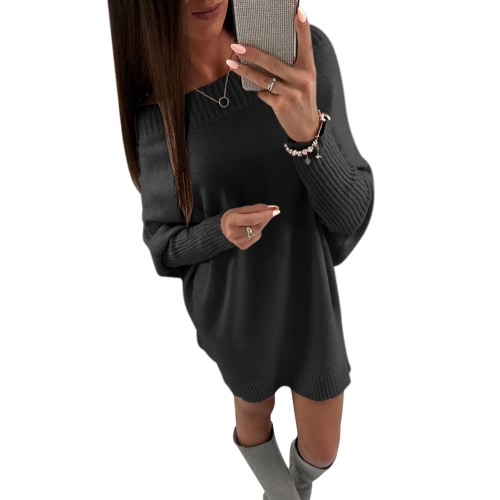 Moda de las mujeres fuera del hombro de manga larga de suéter vestido Batwing manga informal suelta de punto mini vestido
