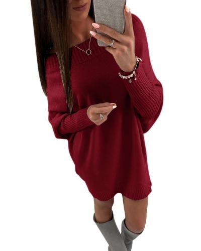 Мода женщин с плеча с длинным рукавом свитер платье Batwing рукавом повседневное платье вязаное мини платье фото