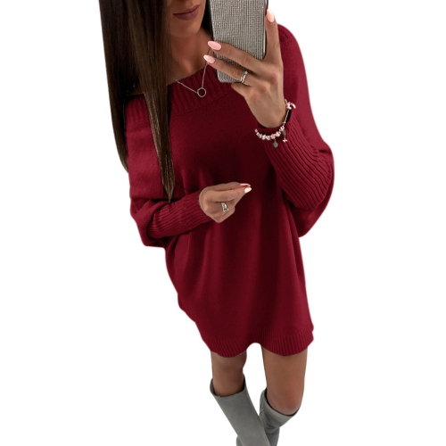 Fashion Women Off The Shoulder Długi rękaw Sweter Sukienka Batwing Sleeve Casual Loose Knitted Mini Dress
