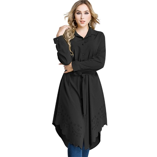 Women Plus Size Shirt Vestido Burning Flowers Hollow Out Irregular Hem Belted Casual Tunic Long Blouse Top