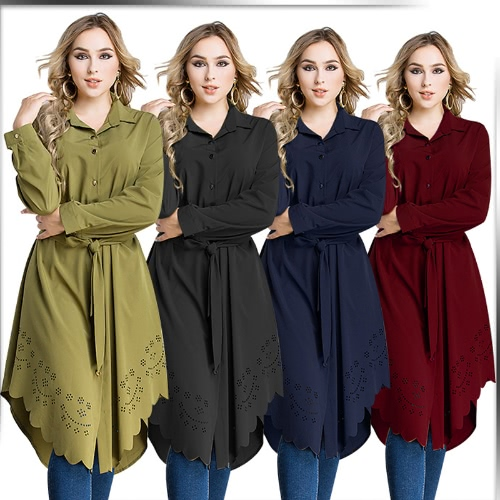 TOMTOP / Women Plus Size Shirt Vestido Burning Flowers Hollow Out Irregular Hem Belted Casual Tunic Long Blouse Top