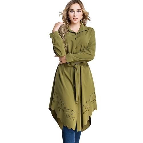 Las mujeres más vestido de camisa de tamaño Las flores ardientes Hollow Out Irregular Hem Cinturón Túnica Casual Blusa larga Top