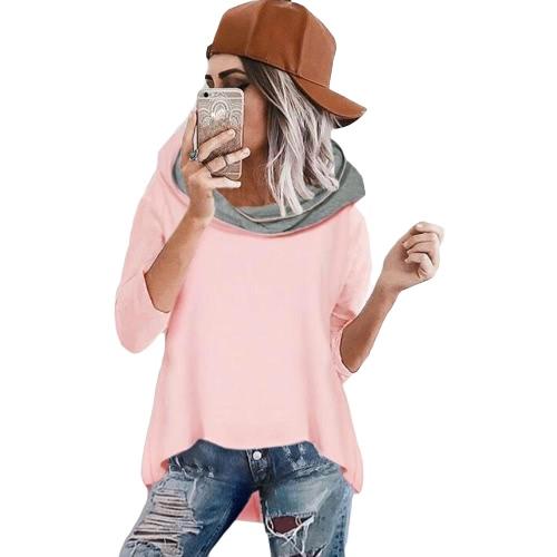 Mulheres Loose Camisola com capuz Irregular Hem Túnicas de três quartos Casual Suave Elegante Hoodies Topo