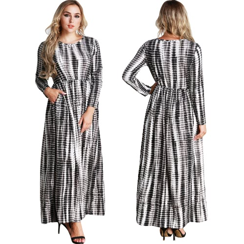 Casual Women Plus Size Stripe Printed Dress Big Size O-Neck Ankle-Length Long Maxi Dress Black