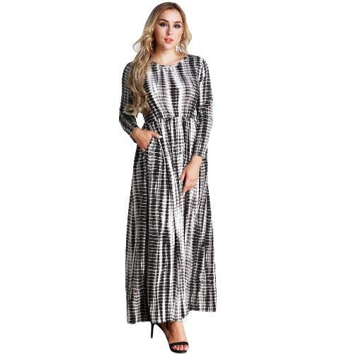 Casual Mulheres Plus Size Stripe Vestido impresso Big Size O-Neck Ankle-Length Long Maxi Dress Black