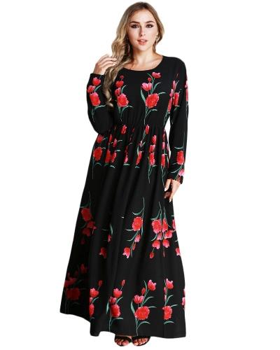 Nueva moda más tamaño Maxi vestido rosa Imprimir O cuello largo manga elástica cintura vestido largo negro