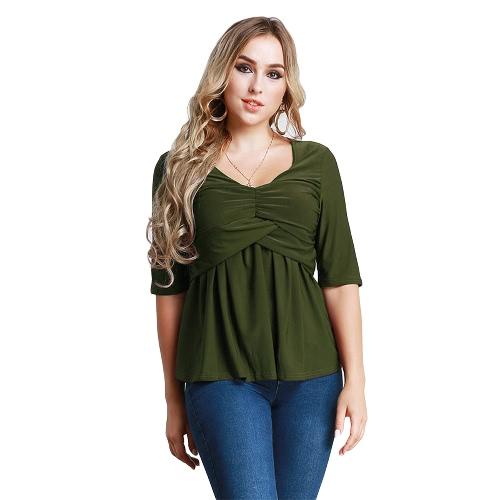 Mujeres T-Shirt Ruched Túnica Sexy Top V-cuello medio mangas otoño superior sólido delgado casual camiseta