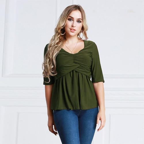 Women T-Shirt Ruched Tunic Sexy Top V-Neck Half Sleeves Autumn Top Solid Slim Casual Tee