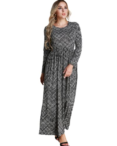 Casual Women Plus Size Dress Stripe Printed Loose Size O-Neck Ankle-Length Long Maxi Dress Black