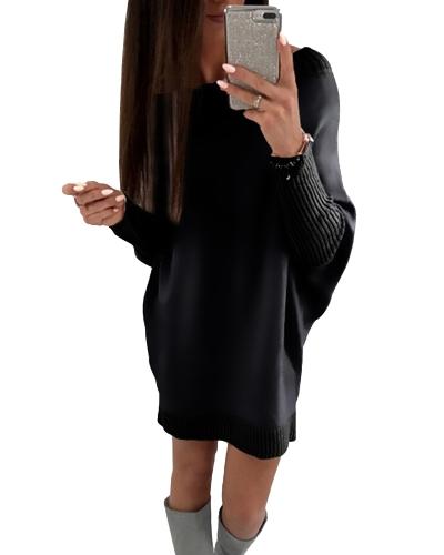 Fashion Women T-Shirt Dress Batwing Sleeve Casual Loose Long Tee Mini Dress