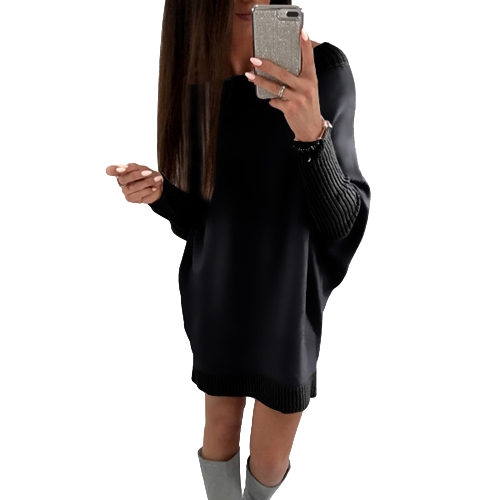 Moda Mulheres T-Shirt Vestido Batwing Manga Casual Loose Long Tee Mini Dress