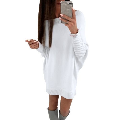 Moda Mujer T-Shirt Vestido Batwing manga casual suelta Long Tee Mini vestido