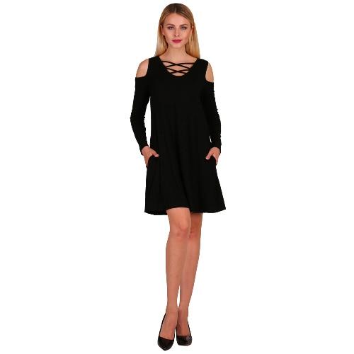 Moda Mulheres Criss Cross Front Deep V Neck Cold Shoulder Mini Dress Solid Color Pockets Skater Dress
