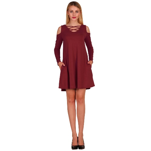 Moda Mujer Criss Cruz Frente V profundo hombro frío vestido Mini vestido de color sólido patinador