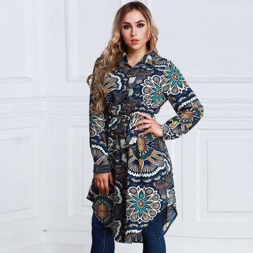 Новая мода Женская длинная цветочная рубашка для печати Рубашка с длинным рукавом с длинным рукавом Асимметричная рубашка с коротким рукавом Dark Blue фото