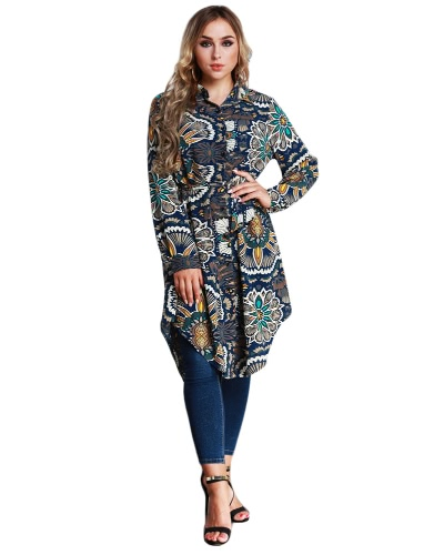 New Fashion Women Long Floral Print Shirt Blusa Turn-down Collar Luva longa Asymmetric Hem Shirt Vestido Dark Blue