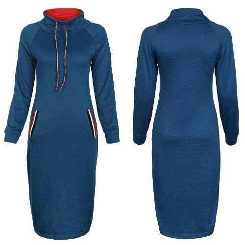 Otoño Invierno Mujer Hoody vestido de cuello alto mangas largas sólido cálido vestido de Bodycon Midi