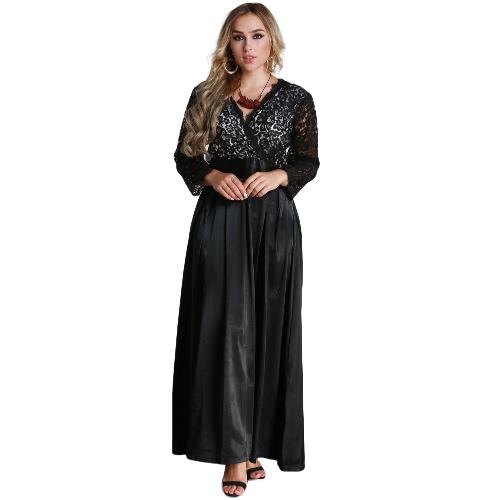 Moda Mulheres Plus Size Lace manga comprida Maxi vestido V Neck cetim cintura festa Evening Prom Dress Vestido preto