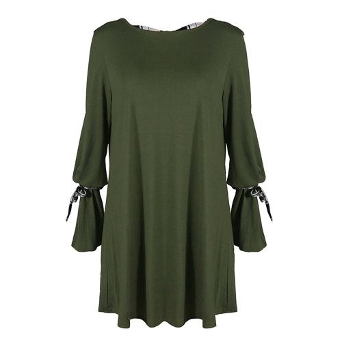 Las mujeres atractivas sueltan mini vestido vendajes sin espalda O-Neck Flare mangas largas elegantes vestidos de fiesta