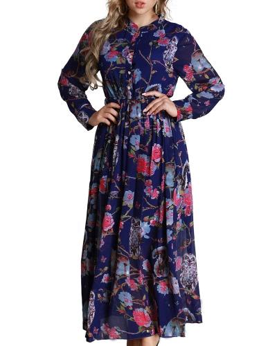Mujeres Floral largo vestido de gasa de manga larga botón frontal A-Line Maxi vestido más tamaño Vestdios