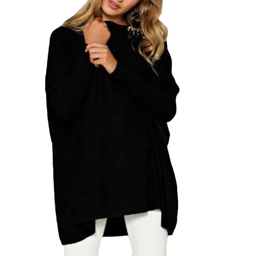 Autumn Women Loose Blusa Solid O-Neck Batwing Manga comprida Casual Soft Top Pullover