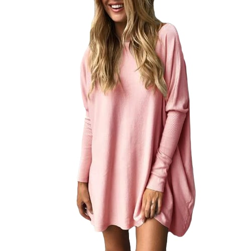 Otoño Mujer blusa suelta Solid O-cuello Batwing manga larga informal superior suave suéter
