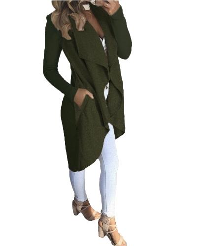 Płaszcz damski Solid Open Front Waterfall Drape Kieszenie Prążkowane rękawy Casual Warm Outerwear Płaszcz
