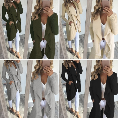 Women Coat Solid Open Front Waterfall Drape Pockets Ribbed Sleeves Casual Warm Outerwear Overcoat