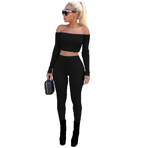 Sexy Women Two Piece Set Crop Top Leggings Solid Ribbed Off Shoulder High Waist Slim Club Wear