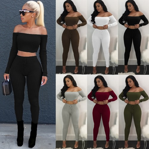 TOMTOP / Sexy Women Two Piece Set Crop Top Leggings Solid Ribbed Off Shoulder High Waist Slim Club Wear