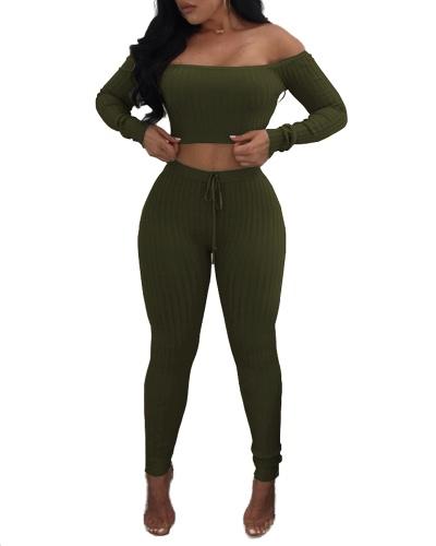 Sexy Women Two Piece Set Crop Top Leggings Solid Ribbed Off Shoulder High Waist Slim Club Wear