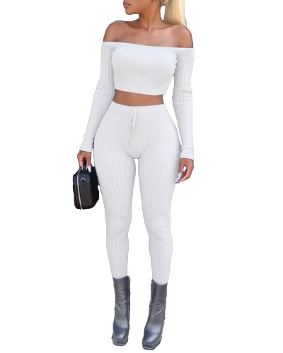 Mujeres Atractivas Dos Piezas Set Cosecha Leggings Sólidos Ribbed De Hombro De Alta Cintura Slim Club Wear