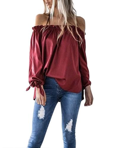 Nuevas mujeres atractivas Slash Tops Cuello Puntada Cuffs Long Sleeve Color Blusa Camiseta Negro / Borgoña