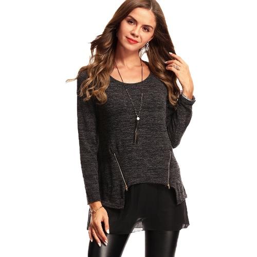 Autumn Women Loose Blouse Fake Two-piece Splice Tops O Neck Brief Mesh T-shirts Pullover Sweater Preto / Cinza / Roxo