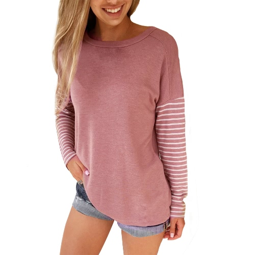 Moda Kobiety Striped Blouse Long Sleeve O-Neck Casual Luźna Autumn T-Shirt Topy Pink