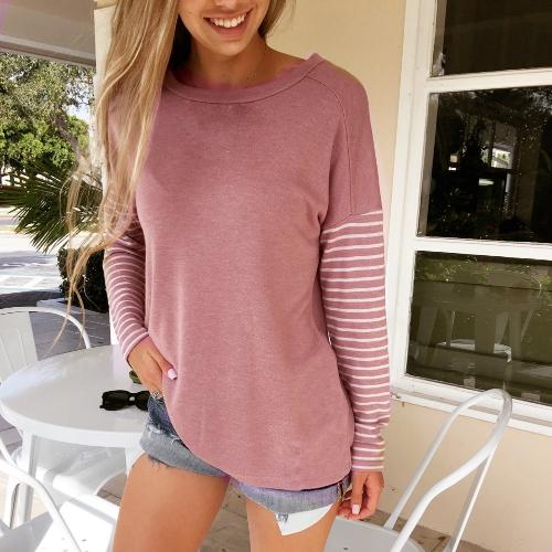 Women Striped Long Sleeve O-Neck Casual Loose Autumn T-Shirt Tops