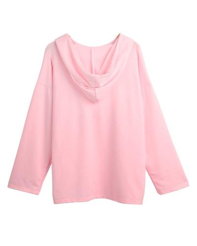 Women Sport Training Yoga Blouse Hooded Pouch Pockets Sweatshirt Sportswear Pullover Top T-Shirt Blue/Pink