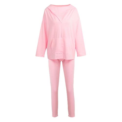 Mulheres Desporto Treinamento Yoga Blusa Bolsa com capuz Bolsos Camisola Sportswear Pullover Top T-Shirt Azul / Rosa