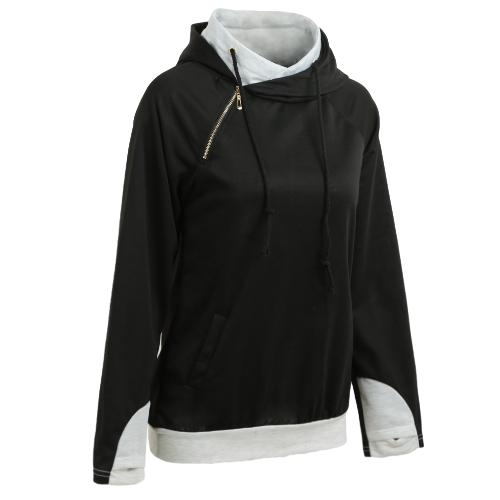 Fashion Women Hoodie Sweatshirts Drawstring Long Sleeve Casual Warm Pullover Hooded Tops Black