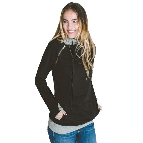 Moda Mujer Hoodie Sudaderas Drawstring manga larga informal caliente suéter con capucha Tops Negro