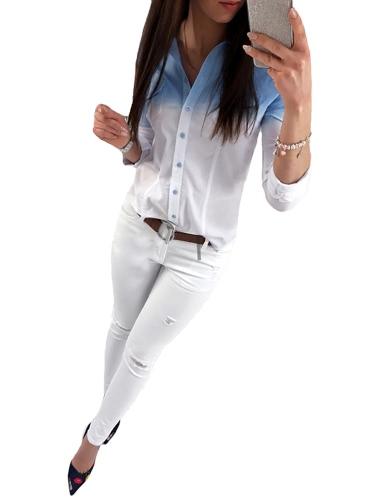 Moda Mulheres Camisa feminina Gradiente Cor manga comprida Colar giratório Blusa casual Streetwear Tops Cinza / Rosa / Azul