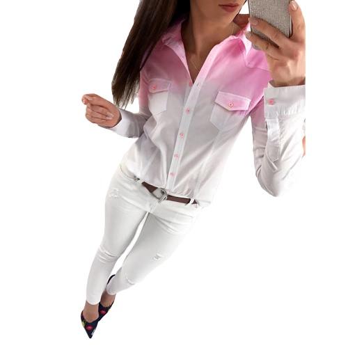 Las mujeres de la manera de la camisa de las señoras de la manga larga del color del gradiente dan vuelta abajo al collar ocasional Streetwear de la blusa de las tapas gris / rosado / azul