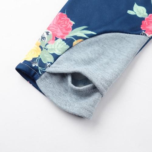 Fashion Women Floral Splice Hoodie Jumper Sweatshirt Drawstring Zipper Hooded Sweater Coat Pullover Dark Blue