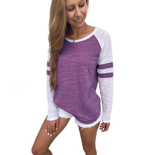Mujeres Camisetas de manga larga Color Splicing Rayas O Neck Raglan Casual Tees Pullovers Tops