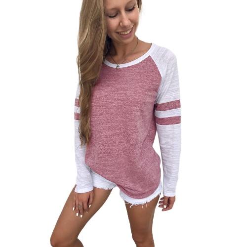 Mujeres Camisetas de manga larga Color Splicing Rayas O Neck Raglan Casual Tees Pullovers Tops