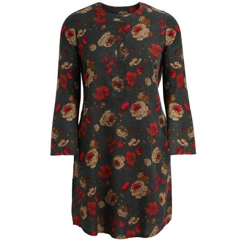 Vintage Kobiety Kwiatowe Bawełniane Sukienki Długie Rękawy Kieszonki Przyciski O Suknia Sweterowa Sukienka